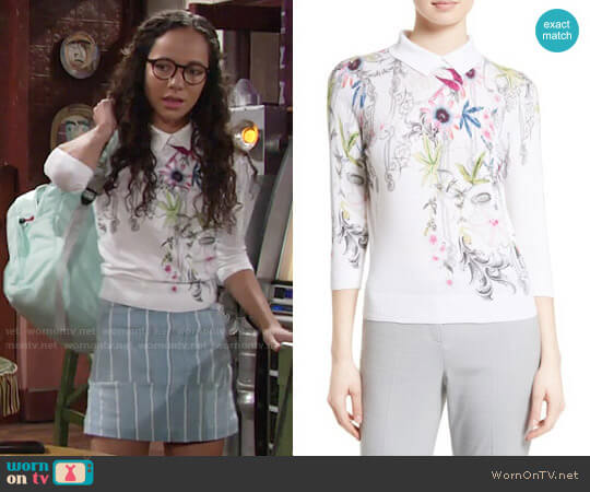 Ted Baker Kikka Passion Flower Print Sweater worn by Lexie Stevenson on The Young & the Restless