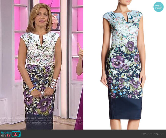 'Tiha' Floral Print Sheath Dress by Ted Baker worn by Hoda Kotb on Today