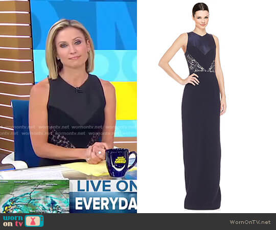 Lace Inset Dress by Theia worn by Amy Robach on Good Morning America