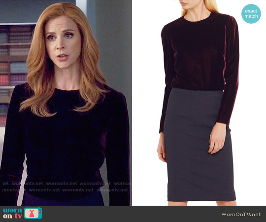 Tom Ford Velvet and stretch-crepe dress worn by Sarah Rafferty on Suits
