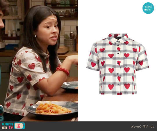 Topshop Crop Heart Check Shirt  worn by Cierra Ramirez on The Fosters