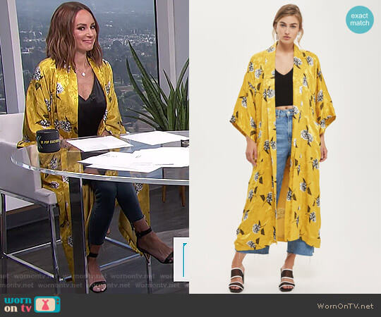 Floral Print Maxi Kimono Jacket by Topshop worn by Catt Sadler  on E! News