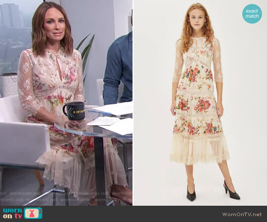 Lace Tier Floral Midi Dress by Topshop worn by Catt Sadler on E! News