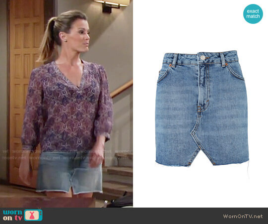 Topshop MOTO Denim Mini Skirt worn by Chelsea Lawson on The Young & the Restless