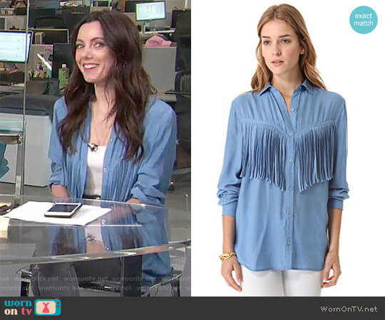'Lola' Fringe Shirt by Torn by Ronny Kobo worn by Melanie Bromley on E! News