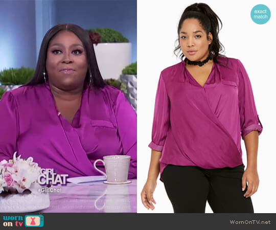 Satin Surplice Blouse by Torrid worn by Loni Love on The Real