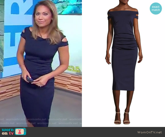 Off the Shoulder Enliven Sheath Dress by Trina Turk worn by Ginger Zee on Good Morning America