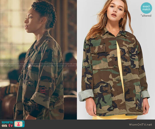 Urban Renewal Vintage Originals Camo Jacket by Urban Outfitters worn by Samantha White (Logan Browning) on Dear White People