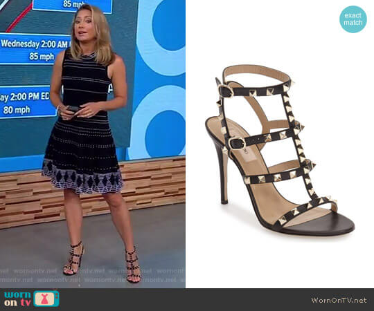 'Rockstud' Ankle Strap Sandal by Valentino worn by Ginger Zee on Good Morning America