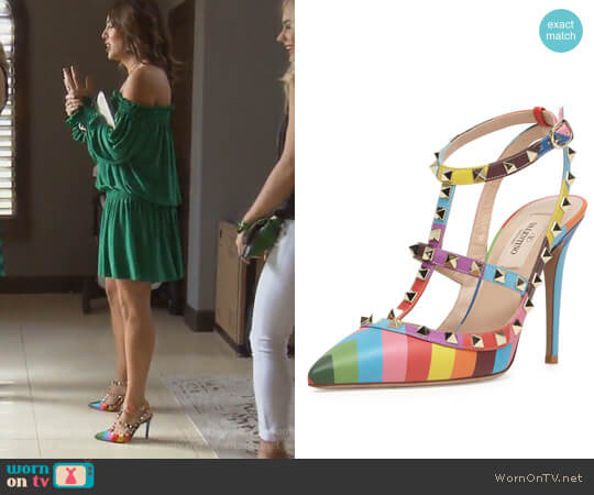 Rockstud Chevron-Print Slingback Pumps by Valentino worn by Kelly Dodd on The Real Housewives of Orange County