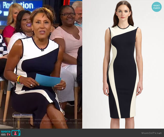 Wave Colorblock Stretch Jersey Dress by Stella McCartney worn by Robin Roberts  on Good Morning America