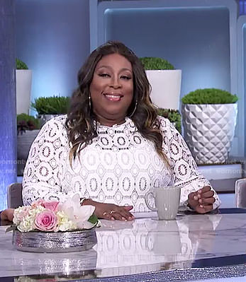 Loni's white crochet lace top on The Real
