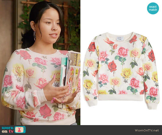 Wildfox Girls' Bright Roses Baggy Beach Jumper worn by Cierra Ramirez on The Fosters