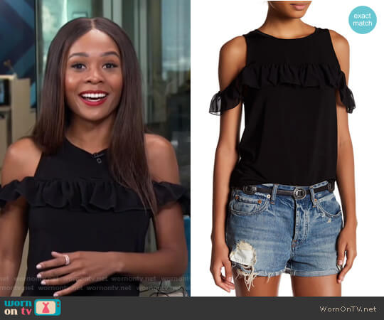 Cold Shoulder Ruffle Blouse by Willow & Clay worn by Zuri Hall  on E! News