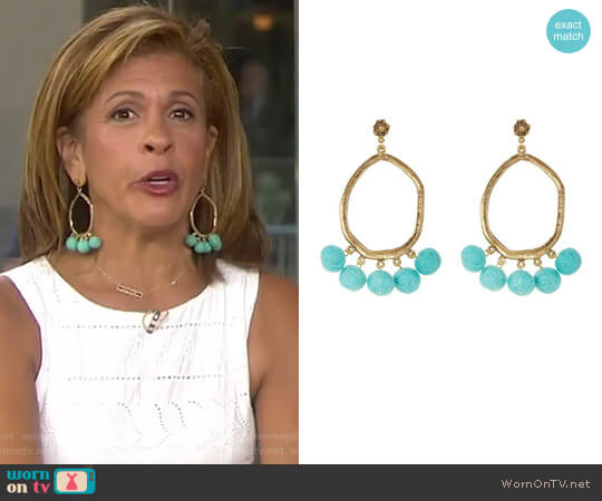 Shake your Pompom Earrings in Turquoise by Yochi worn by Hoda Kotb on Today