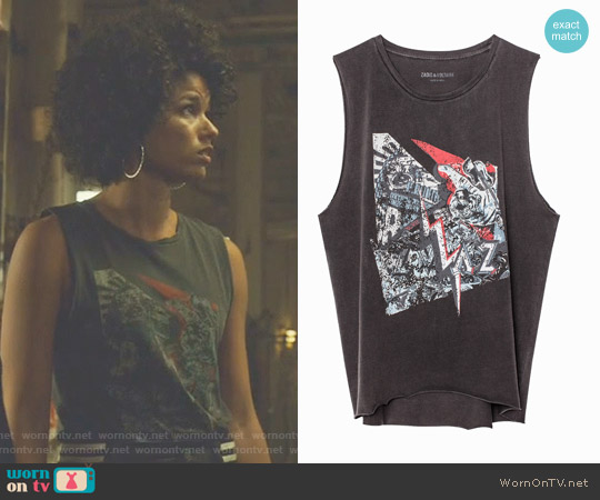 Moly Bis Overdyed Tank Top by Zadig & Voltaire worn by Alisha Wainwright  on Shadowhunters
