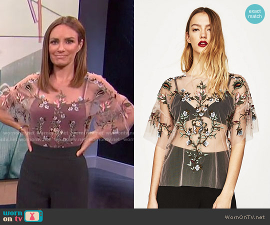 Embroidered Tulle Top by Zara worn by Catt Sadler on E! News