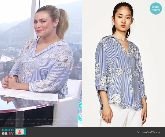 Printed Blouse with Polo Neck by Zara worn by Carissa Loethen Culiner on E! News