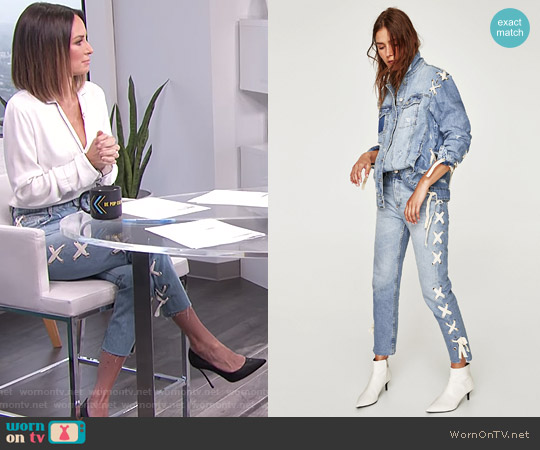Straight Jeans with Eyelets worn by Catt Sadler on E! News