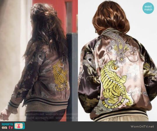 Limited Edition Bomber Jacket by Zara worn by Sophie Cookson on Gypsy