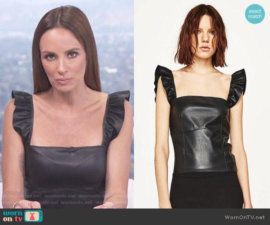Short Leather Effect Top by Zara worn by Catt Sadler on E! News