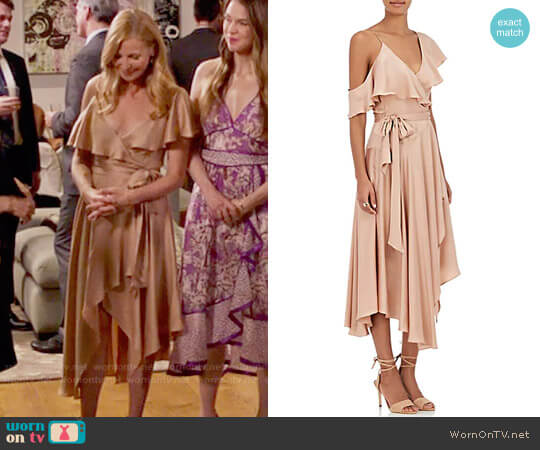 Zimmermann Silk Satin Wrap Dress worn by Jennifer Westfeldt on Younger