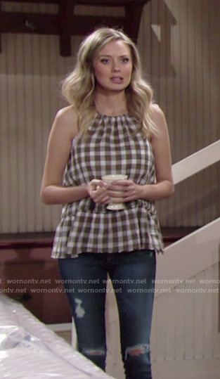 Abby's gingham checked top and distressed skinny jeans on The Young and the Restless