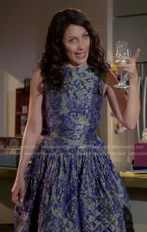 Abby's grey and purple textured dress on Girlfriends Guide to Divorce