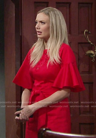 Abby's red embroidered bell-sleeve dress on The Young and the Restless