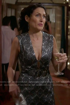 Abby's silver belted dress on Girlfriends Guide to Divorce
