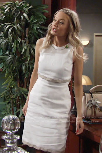 Abby's white popover dress with wavy trim on The Young and the Restless
