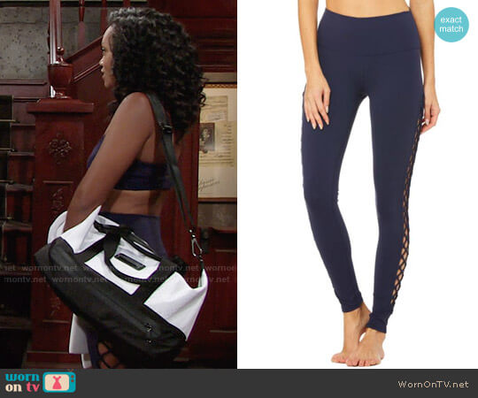 Alo Interlace Leggings worn by Mishael Morgan on The Young & the Restless