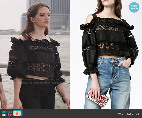 Alberta Ferretti Lace Embroidery Off Shoulder Top worn by Katie Stevens on The Bold Type