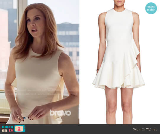Alexander McQueen Sleeveless Ruffle-Trim Scuba Dress worn by Sarah Rafferty on Suits