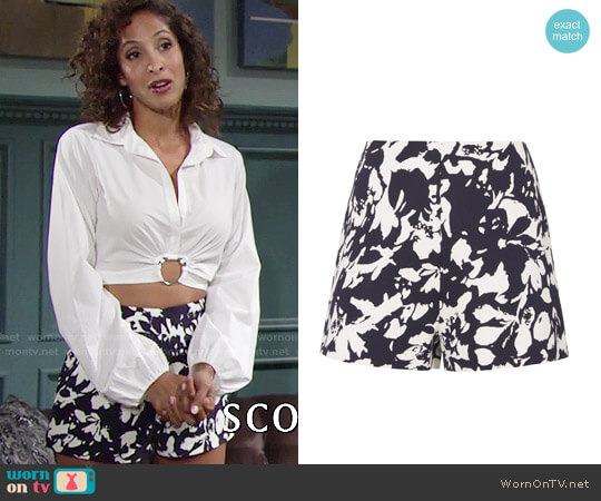 Alexis Carrie Floral Shorts worn by Christel Khalil on The Young & the Restless