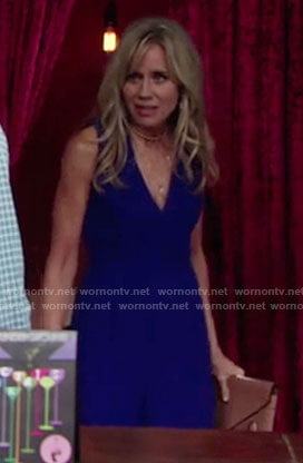 Alice's blue open back jumpsuit on The Young and the Restless