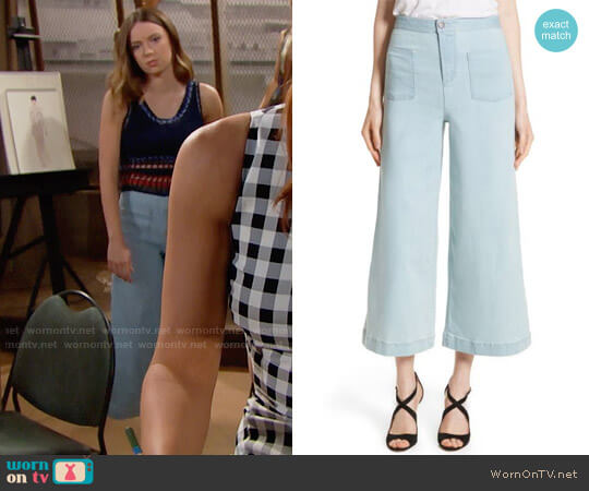 Alice + Olivia Johnny Cropped Flare Ankle Jeans worn by Courtney Grosbeck on The Bold & the Beautiful
