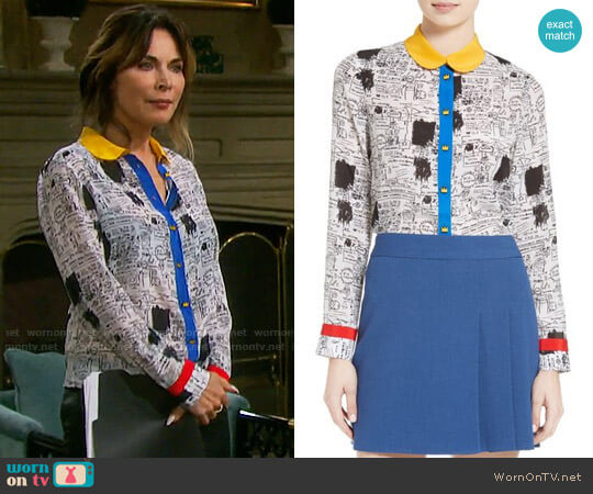 Alice + Olivia Gary Print Silk Blouse worn by Lauren Koslow on Days of our Lives