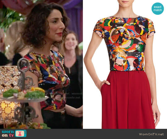 Alice + Olivia Kelli Sequin Top worn by Necar Zadegan on GG2D
