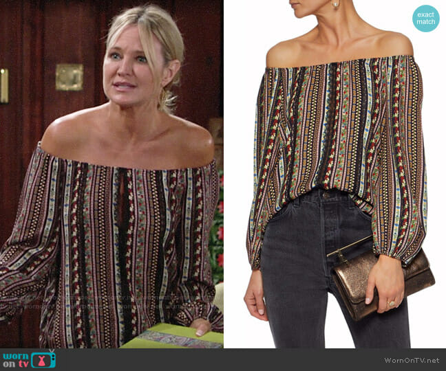 Alice + Olivia Saydee Top worn by Sharon Collins (Sharon Case) on The Young & the Restless