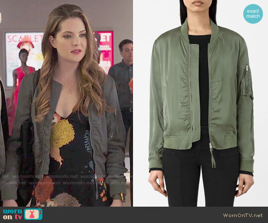 All Saints Kuma Bomber Jacket worn by Meghann Fahy on The Bold Type