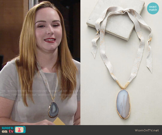 Anthropologie Agate Pendant Necklace worn by Mariah Copeland (Camryn Grimes) on The Young & the Restless