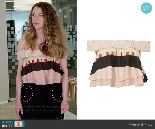 Apiece Apart Soleil Abstract Print Crop Top worn by Sutton Foster on Younger