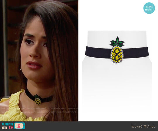 Aqua Kelly Iconic Choker Necklace in Pineapple worn by Darlita on The Bold & the Beautiful