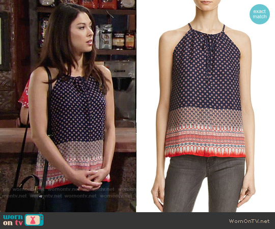 Aqua Scarf-Print Halter Tank worn by Laur Allen on The Young & the Restless