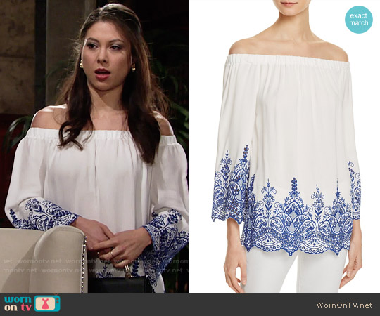 Aqua Off-the-Shoulder Eyelet Top worn by Juliet Helton (Laur Allen) on The Young & the Restless