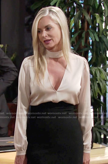 Ashley's beige choker blouse on The Young and the Restless