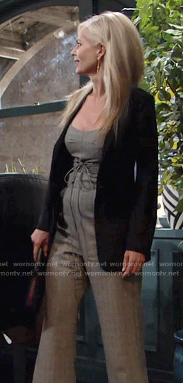 Ashley's grey plaid corset jumpsuit on The Young and the Restless