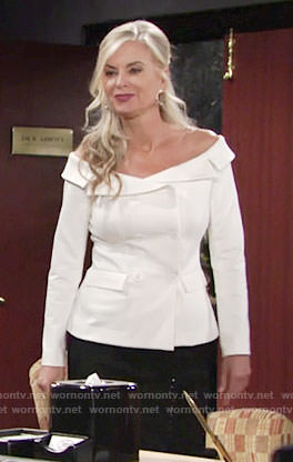 Ashley's white off-shoulder jacket on The Young and the Restless
