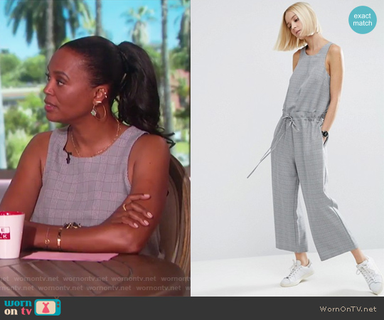 Jumpsuit in Check with Paperbag Waist by ASOS worn by Aisha Tyler on The Talk